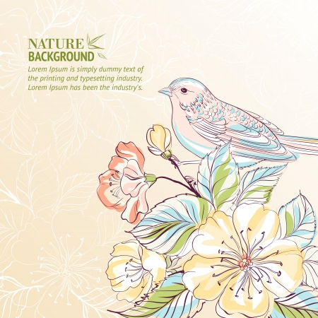 Hand gezeichnet Vogel auf sacura branch Vector Abbildung enthält Folien, Farbverläufe und Effekte