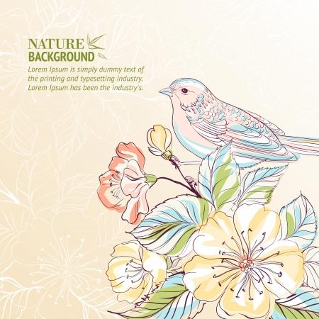 Main oiseau dessiné sur sacura branche vecteur, contient des transparents, des dégradés et des effets