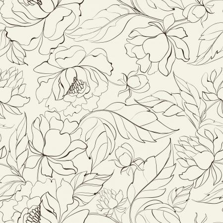 flores chinas: Patr�n floral transparente con Peony Vector ilustraci�n Vectores