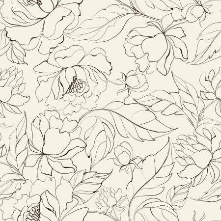 peony black: Seamless floral pattern with Peony  Vector illustration