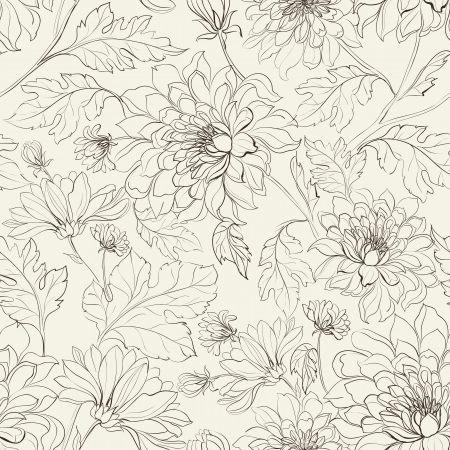 Seamless floral pattern with chrysanthemums  Vector illustration  Иллюстрация