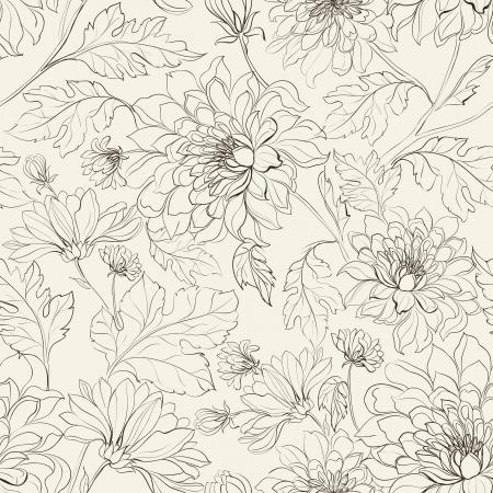 garden flower: Seamless floral pattern with chrysanthemums  Vector illustration  Illustration