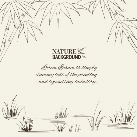 cormorant: Bamboo frame for your text  Vector illustration  Illustration