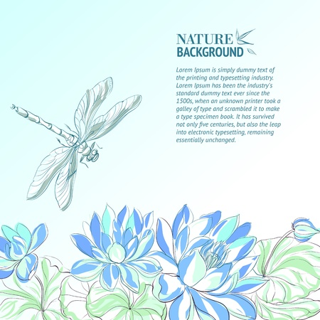 dragonfly art: Lotus flower and dragonfly