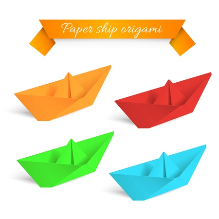 Four colorfull paper ships origami  Vector illustration  Vector