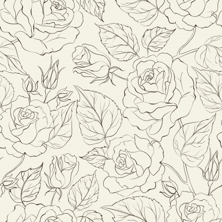 white rose: Little Rose seamless background  Vector Illustration