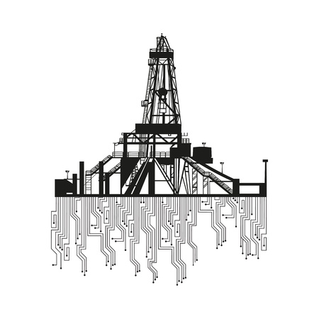 conventional: Oil rig silhouettes on white background  Vector Illustration