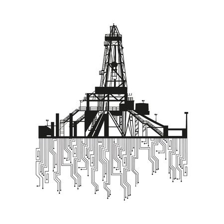 �leo: Silhuetas de plataformas de petróleo no fundo branco Ilustração