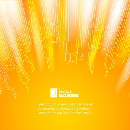 electric circuit: Abstract orange lights background  Vector illustration, contains transparencies, gradients and effects