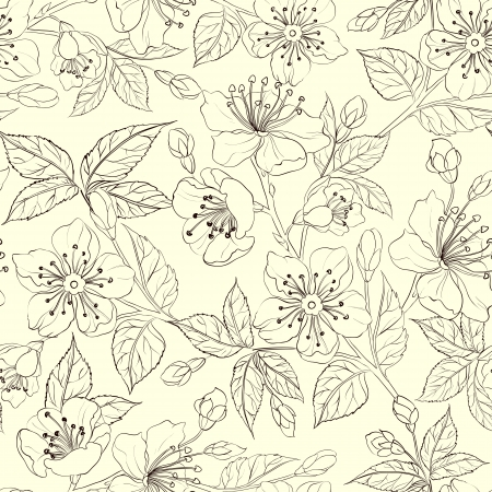 flowers black background: Seamless floral pattern