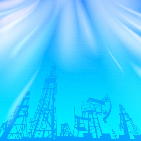 drilling machine: Oil rig and oil pump over blue luminous ray  Vector illustration