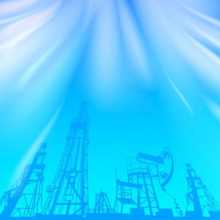 Plataforma de petróleo e bomba de óleo sobre o azul luminoso raio ilustração vetorial