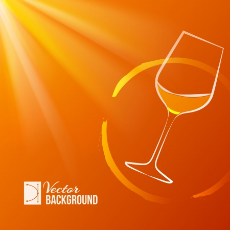 Wine glass over shine backdrop  Vector illustration  Vector