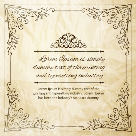 Ornate frame for invitations or announcements  Vector illustration  Vector