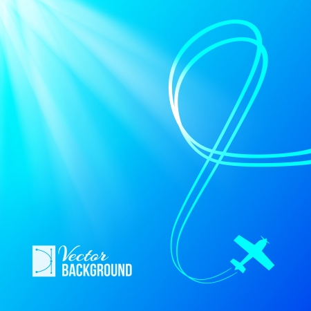 Airplane on blue background with banner  Vector illustration  Vector