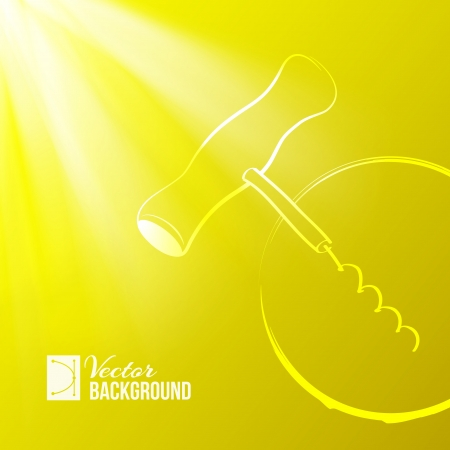Corkscrew on yellow light background  Vector illustration Stock Vector - 19731302