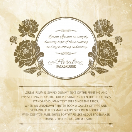 Peony frame for invitations or announcements illustration