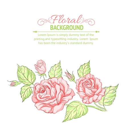bouquet  flowers: Silhouette of rose with sample text  Vector illustration