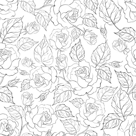 rose pattern: Rose seamless background  Vector illustration  Illustration