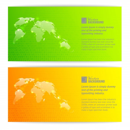 Banners with globe maps  Vector illustration, contains transparencies, gradients and effects  Vector