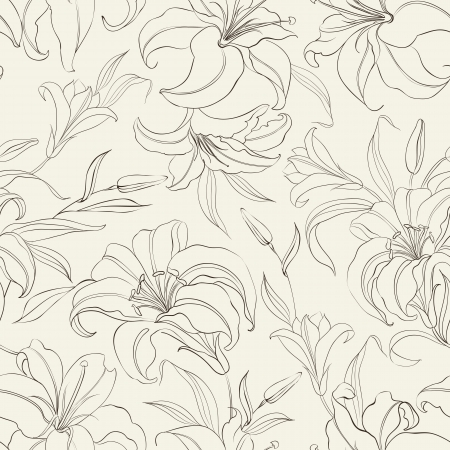 Seamless  pattern with blooming lilies on sepia background  Vector illustration