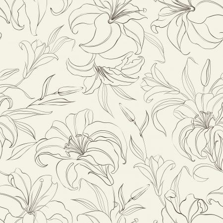 Teste padrão sem emenda com flores lírios em sépia de fundo ilustração vetorial Ilustra��o