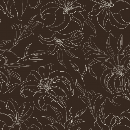 Seamless  pattern with blooming lilies on brown background  Vector illustration  Vector
