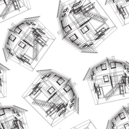 architect plans: Seamless house pattern  Vector illustration