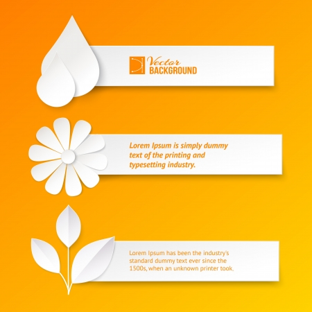 orange banner: Set of text cards  Vector illustration, contains transparencies, gradients and effects