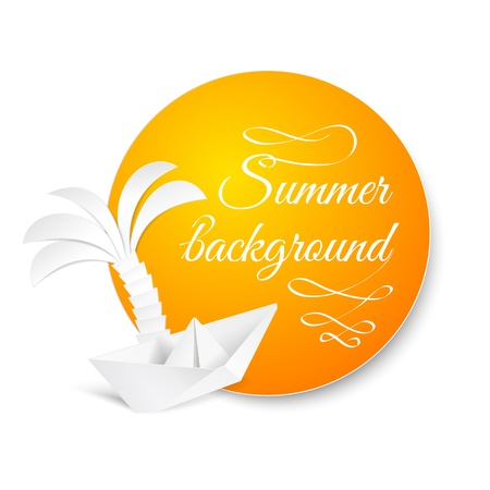 Palm origami tree over summer badge  Vector illustration, contains transparencies, gradients and effects  Vector