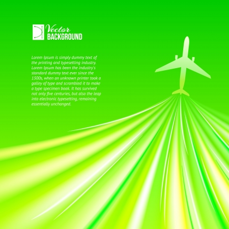 Illustration of airplane around the green  Vector illustration, contains transparencies, gradients and effects  Vector