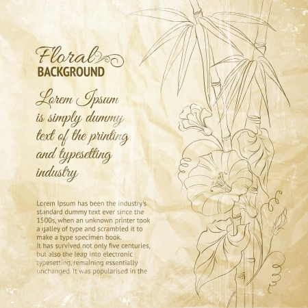 Bindweed flower and bamboo on paper illustration  Vector