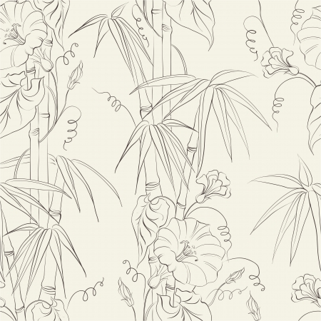 Bindweed flower and bamboo isolated over white illustration
