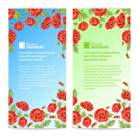 Banner of stylized poppies  Vector illustration  Vector