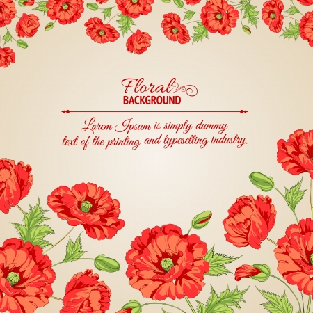 Card with poppy flowers illustration  Vector