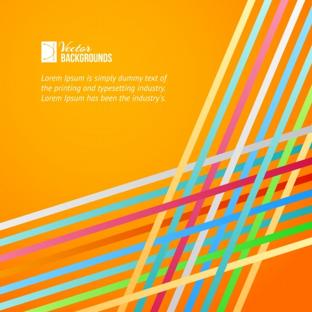 Rainbow lines over orange background illustration  Vector