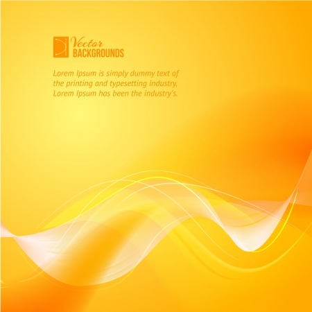 concentration: Colorful smooth light lines over orange background illustration