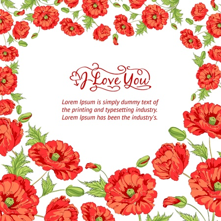 Heart frame of poppies illustration  Vector