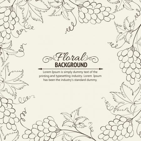 black grape: Frame engraving illustration  Illustration