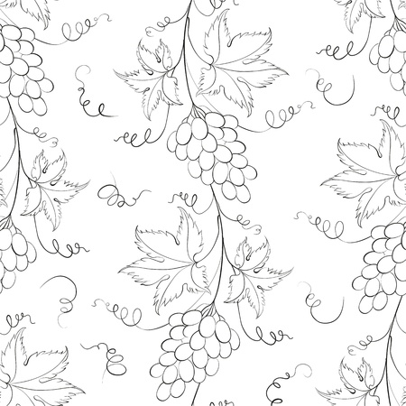 Seamless pattern with grapes illustration  Illustration