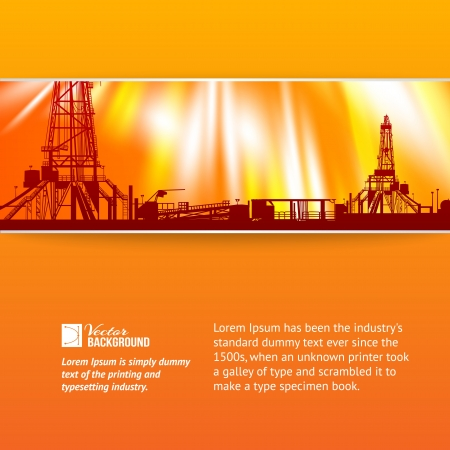 oil exploration: Abstract oil rig background illustration