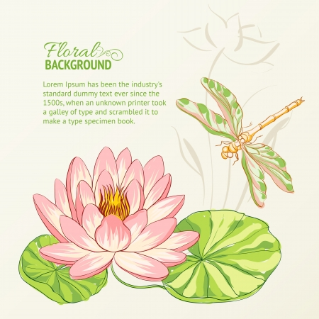 waterlilies: Watercolor painting of lotus and dragonfly illustration