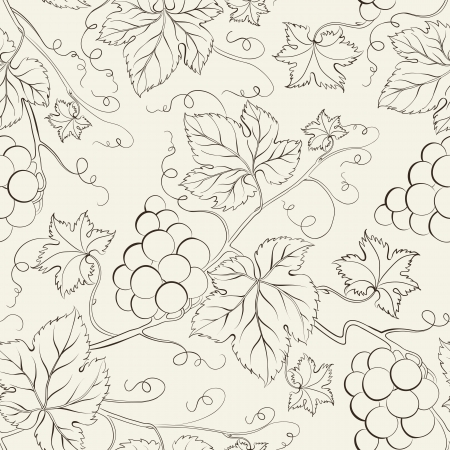 grapes in isolated: Hand drawn seamless pattern illustration  Illustration
