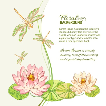 dragonfly wing: Watercolor label of lotus and dragonfly illustration