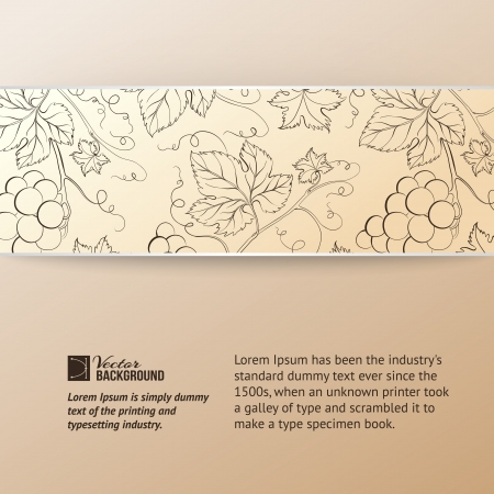 Sepia vine label illustration  Vector