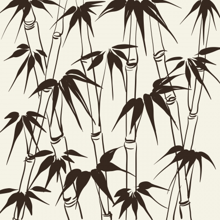 chinese border: Bamboo with leaves pattern  Vector illustration  Illustration