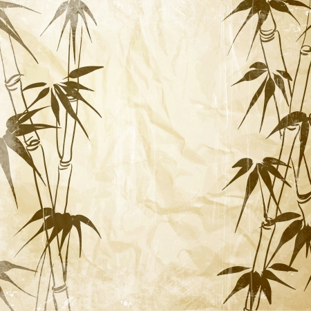 shoots: Bamboo with leaves pattern  Vector illustration  Illustration