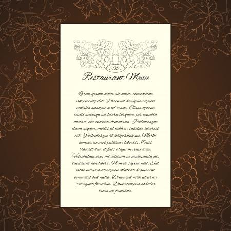 festival of the grape harvest: Wine menu card template  Vector illustration