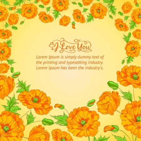 Card with poppy flowers   Vector illustration  Vector