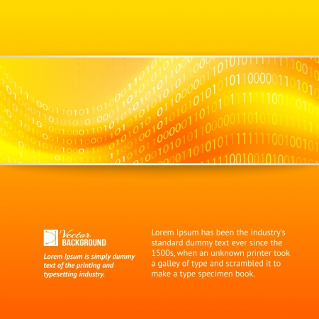 codigo binario: Amarillo dígitos ola de fondo Ilustración